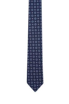 ربطة عنق حرير بنقشة مربعات هندسية كحلي