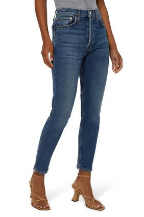بنطال جينز قصير بخصر مرتفع