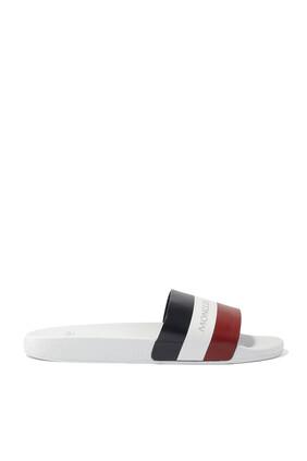 حذاء مفتوح كلاسيكي مخطط بشعار الماركة