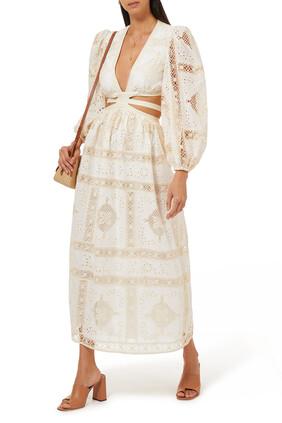 فستان اليان متوسط الطول بتطريزات إنجليزية قطن