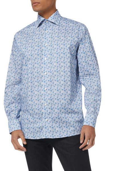 قميص تويل بقصة عصرية ونقشة زهور