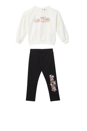 طقم بدلة رياضية بطبعة زهور وشعار الماركة بلون مغاير