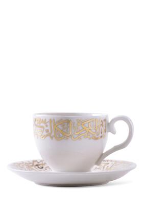 طقم أكواب شاي وأطباق بورسلين، 12 قطعة