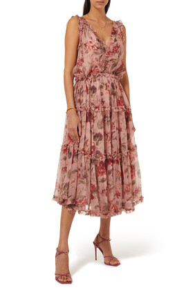 فستان كاسيا متوسط الطول حرير