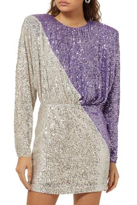 فستان بيلي قصير مزين بالترتر