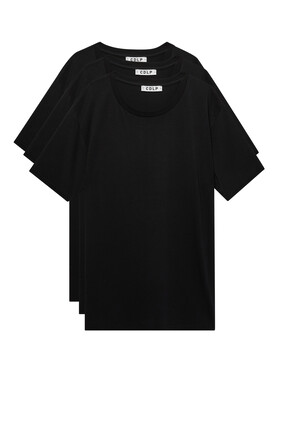 3-pack Crew Neck T-Shirt:Black:S