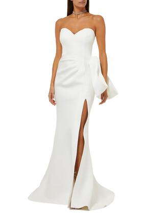 فستان بدون حمالات مزين بعقدة