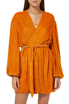 فستان جابريل بتصميم ملفوف مزين بغليتر