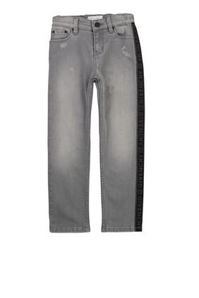 بنطال جينز بشريط شعار الماركة
