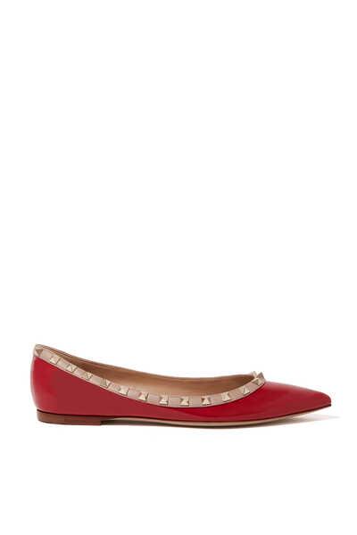 حذاء كلاسيك باليرينا جلد لامع بحلي هرمية
