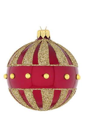 زينة مرصعة بلؤلؤ ذهبي لشجرة الكريسماس