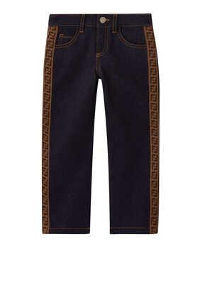 بنطال جينز دينم بشريط بشعار FF