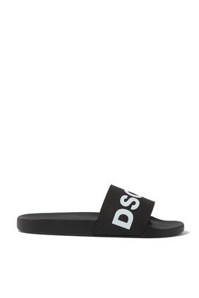 حذاء مفتوح مطاط مزين بشعار DSQ