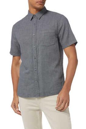 قميص قطن بارز الملمس بنقشة مربعات صغيرة