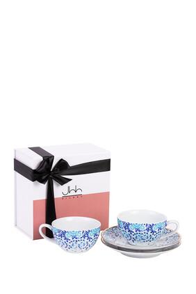 طقم فنجانين شاي مرايا من البورسلين مع علبة هدية، قطعتان