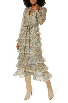 فستان ليدي بيتل متوسط الطول بطبقات كشكش