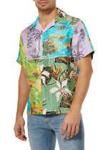 قميص حرير بنقشة استوائية