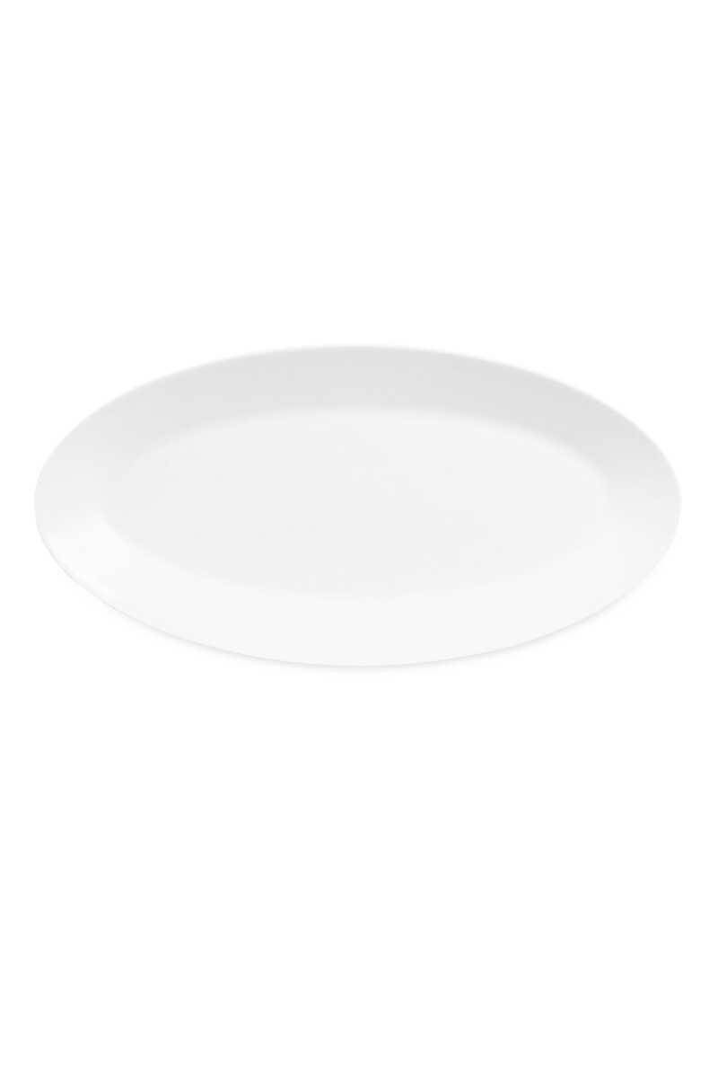 طبق بيضاوي أبيض صغير image number 1