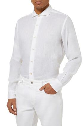 قميص كتان بأكمام طويلة