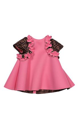 فستان بأكمام مزينة بشعار الماركة