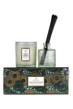 مجموعة هدايا شمعة فرنش كيد لافندر بوعاء بحواف صدفية وموزع العطر