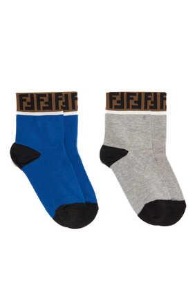 طقم جوارب قطن بشريط بشعار FF، زوجان