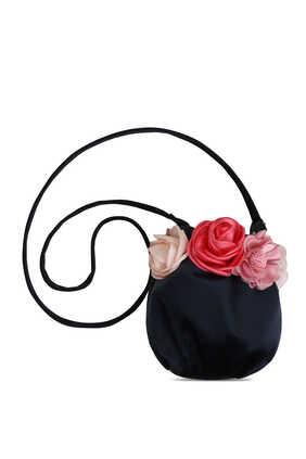 حقيبة كتف مزينة بزهور