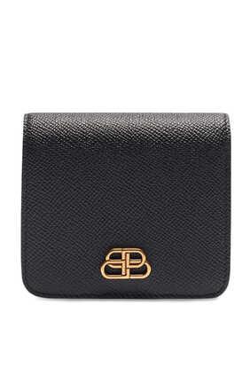 حافظة بطاقات بغطاء قلاب وشعار BB وجيب للعملات المعدنية