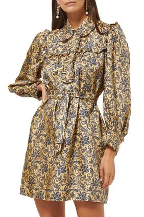 فستان قصير مزين بنقشة