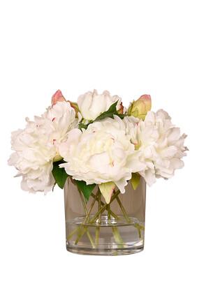 باقة ورود فاوانيا في مزهرية زجاج متوسطة الحجم