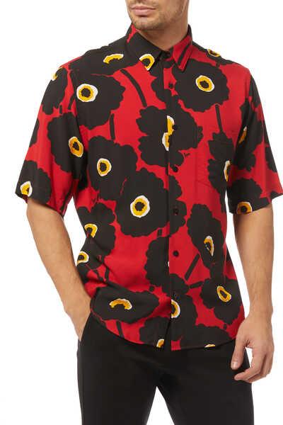 قميص بأكمام قصيرة مزين بنقشة