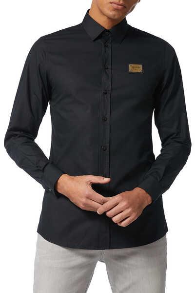 قميص قطن بوبلين برقعة شعار الماركة