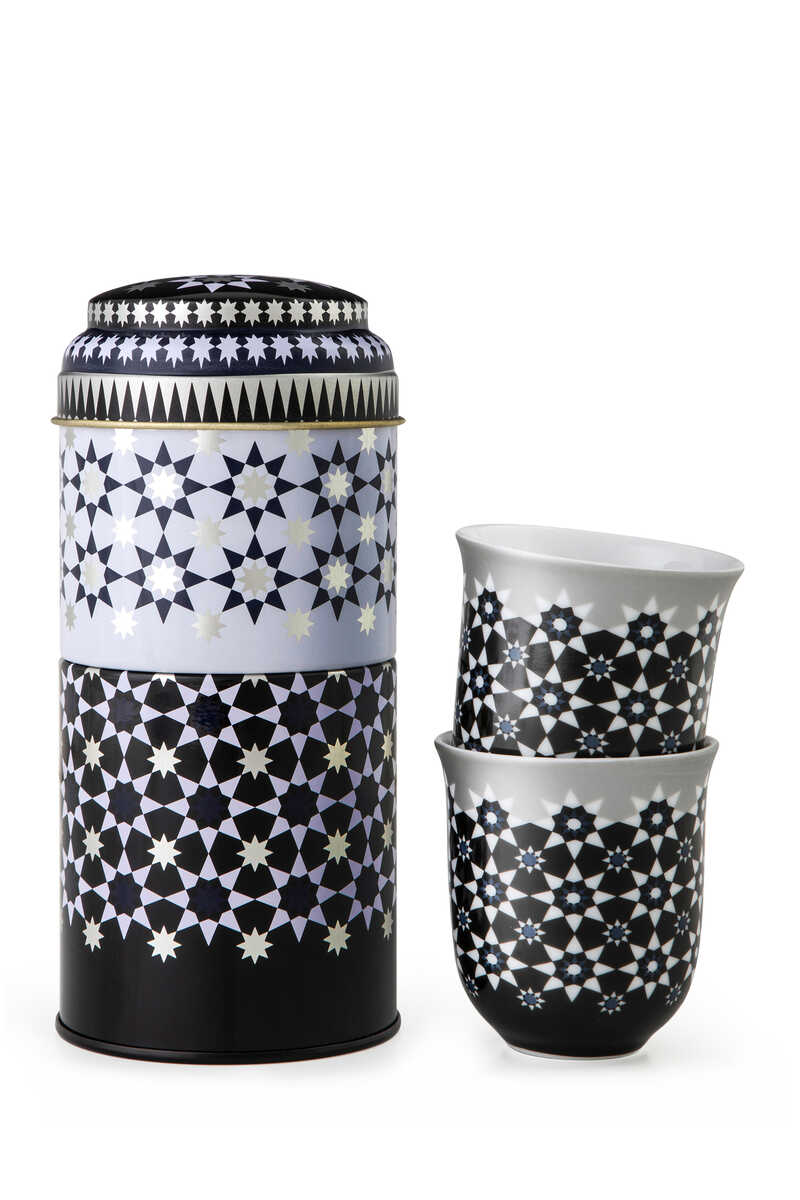 IDO S/2 Tin Box w/2 Coffee Cup Porcelain KAOKAB - 90 ML:Multi Colour:One Size image number 1