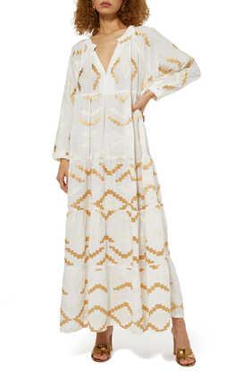 فستان طويل بنقشة تجريدية