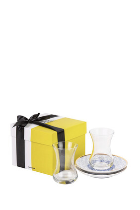 طقم استكانات وأطباق شاي كنوز مع علبة هدية