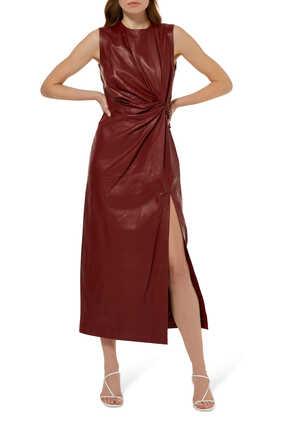 فستان أكيكو متوسط الطول جلد