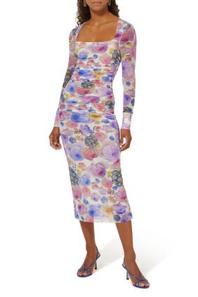 فستان بنقشة الزهور قماش شبكي