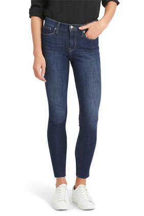 بنطال جينز سكيني على الخصر بطول الكاحل