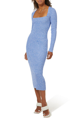 فستان منسوج مضلع رايون