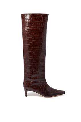 حذاء بوت والي أعلى الركبة بنقشة جلد التمساح