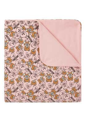 بطانية للرضع بنقشة دب وشعار الماركة