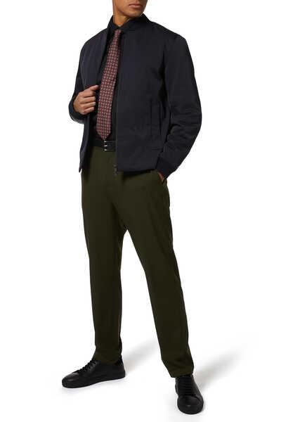 ربطة عنق حرير بوجهين ونقشة مربعات