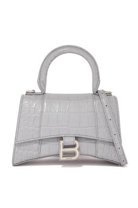 حقيبة مقوسة بيد علوية ونقشة جلد التمساح مقاس XS