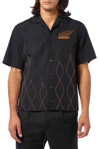 قميص بتطريز نار