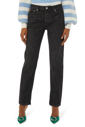 بنطال جينز على الخصر بلون باهت
