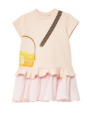 فستان مزين بطبعة حقيبة كروس