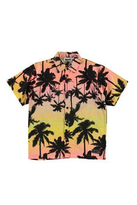 قميص بنقشة أشجار نخيل وغروب الشمس