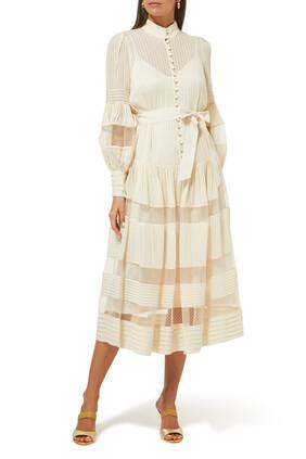 فستان متوسط الطول قماش شبكي بتصميم مقسم لأجزاء