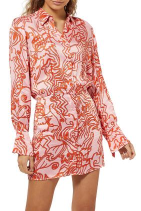 فستان قصير بنقشة شعب مرجانية
