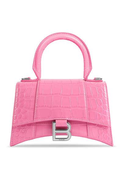 حقيبة بيد علوية وتصميم مقوس حجم XS بنقشة جلد التمساح